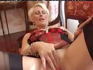 pierced granny in dark fully fashioned nylons