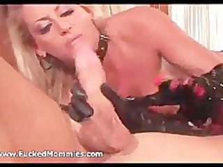 bisexual golden-haired moms fist twats and