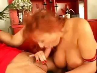 busty mommy takes on two youthful boys and gives