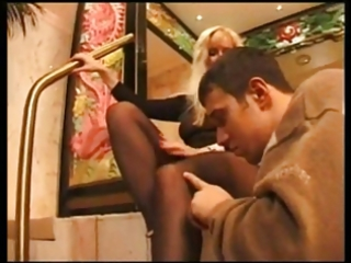 hot d like to fuck gives a footjob with black hose