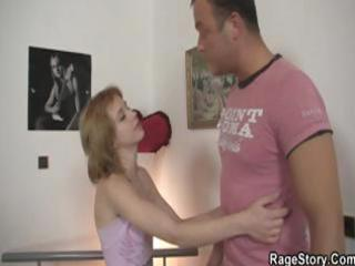 redhead wife is in trouble and he is gives her