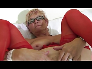 granny in glasses and red underware and nylons