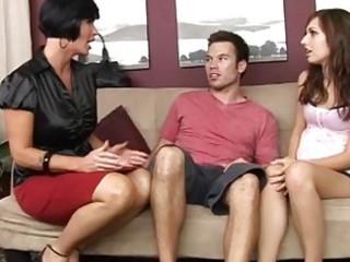 sexy mum teaching her preggo daughter how to