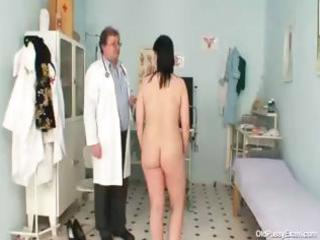 naughty gyno doctor examines the unshaved cookie