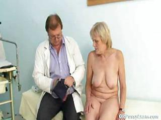 aged brigita visiting gyno doctor for real proper