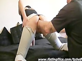 brutally fist fucked non-professional housewife