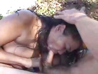 breasty oriental babe sucks his ramrod and