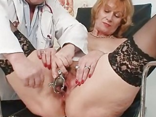 redhead granny dirty cunt stretching in gyn clini