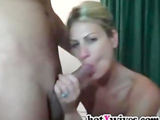 sexy blond gives oral-service and gets facialized