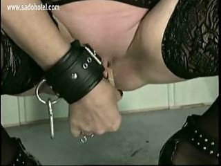 Master put clamps of horny granny slave her cunt