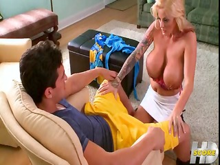 busty blonde sabrina with pierced nipples blows,