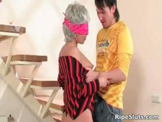 fantastic blonde mom with blindfold part1