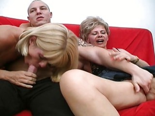 two crazy older harlots share one beefy penis