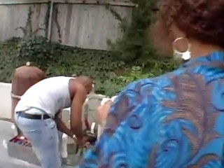 Black milf outdoor anal