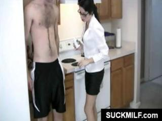 hot brunette hair milf in glasses munches on his