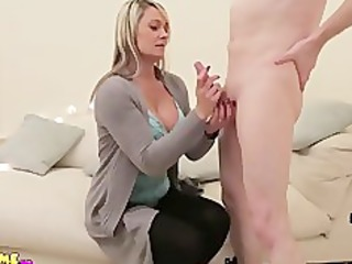 MILF wanks and sucks naked CFNM guy until he cums