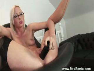 Mature secretary gets her pussy toyed