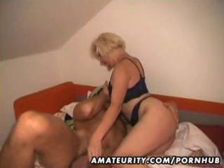 Amateur blonde wife eats his cock, gets banged,