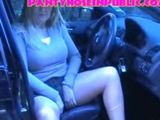 car park chubby slut british wife in tan hose