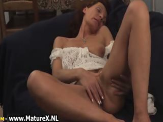 mature woman is laying
