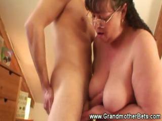 chubby granny rides lustful youthful rod