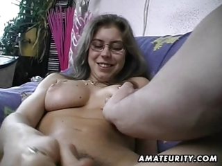 bushy dilettante wife toys and rides a cock with