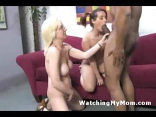 Naughty mom and young daughter share black cock