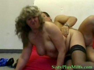 blond granny in dark stockings