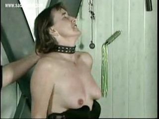 Mature slave gets hits on her pussy and pulled on