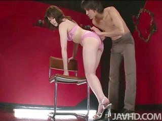 Slutty Tomoka in a red room with her boyfriend