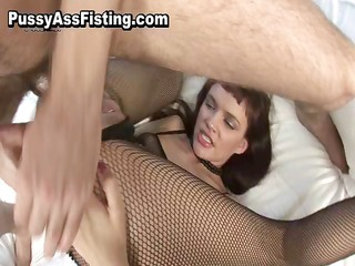 slut in fishnets acquires double permeated