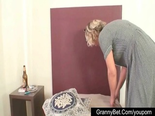 older shy cleaning woman screwed by younger