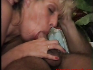 golden-haired milf with hairy fur pie blows and
