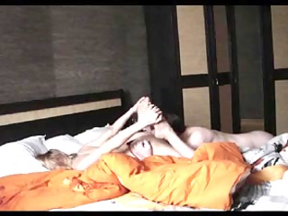 bushy large titted wife rides strapon. hidden cam