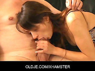horny young gal is fucking his old husband