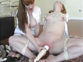 lesbo girl gets vibrated tortured and whipped by
