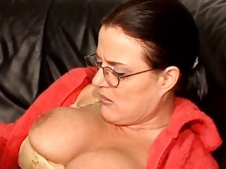 Hairy german mature on couch
