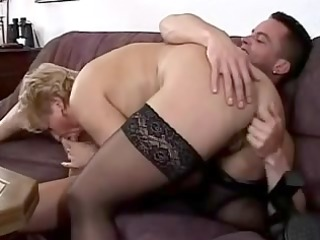 little breasted granny in lace top nylons fucks