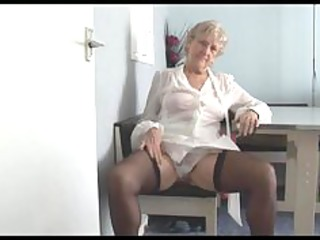 impressive granny in short skirt strips