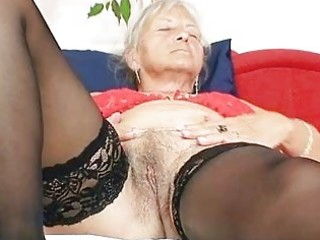 unattractive grandma cecilie toys her hairy snatch
