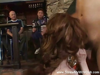 redhead wife receives screwed, hubby approves!
