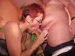 redhead granny in nylons copulates