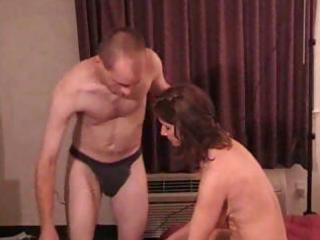 nasty brunette hair wife plays with her boy toy