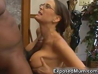 Hot Milf in glasses deepthroating black part4